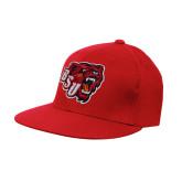 Red OttoFlex Flat Bill Pro Style Hat-BSU w/ Bear Head