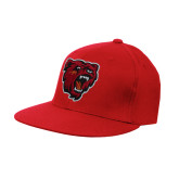 Red OttoFlex Flat Bill Pro Style Hat-Bear Head
