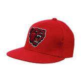 Red OttoFlex Flat Bill Pro Style Hat-Bear Head