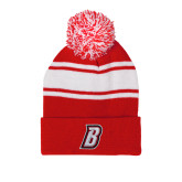 Red/White Two Tone Knit Pom Beanie with Cuff-B
