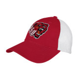 Red/White Mesh Back Unstructured Low Profile Hat-BSU w/ Bear Head