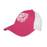 Fuchsia/White Mesh Back Unstructured Low Profile Hat-BSU w/ Bear Head