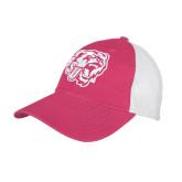Fuchsia/White Mesh Back Unstructured Low Profile Hat-BSU w/ Bear Head