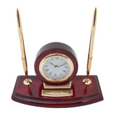 Executive Wood Clock and Pen Stand-Bridgewater State University Flat Engraved