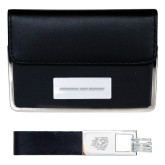 Business Card Case and Key Ring Set Black-Bridgewater State University Flat Engraved