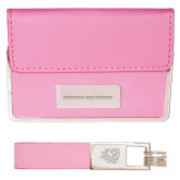 Business Card Case and Key Ring Set Pink-Bridgewater State University Flat Engraved