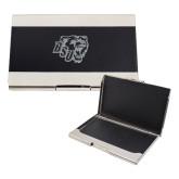 Bey Berk Carbon Fiber Business Card Holder-BSU w/ Bear Head Engraved