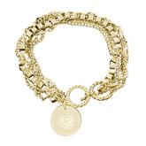 Olivia Sorelle Gold Round Pendant Multi strand Bracelet-BSU w/ Bear Head Engraved