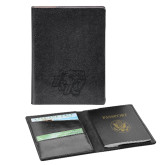 Fabrizio Black RFID Passport Holder-BSU w/ Bear Head Engraved