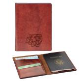 Fabrizio Brown RFID Passport Holder-BSU w/ Bear Head Engraved