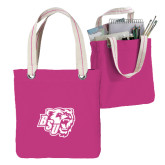 Allie Fuchsia Canvas Tote-BSU w/ Bear Head