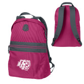 Pink Raspberry Nailhead Backpack-BSU w/ Bear Head