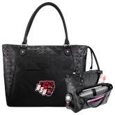 Sophia Checkpoint Friendly Black Compu Tote-BSU w/ Bear Head