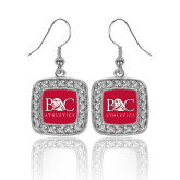 Crystal Studded Square Pendant Silver Dangle Earrings-Primary Mark Tone