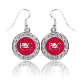 Crystal Studded Round Pendant Silver Dangle Earrings-Primary Mark Tone