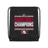 Black Drawstring Backpack-2017 Appalachian Athletics Conference Womens Basketball Champions Stacked