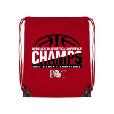 Red Drawstring Backpack-2017 Appalachian Athletics Conference Womens Basketball Champions - Half Ball