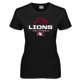 Ladies Black T Shirt-Lions Volleyball Half Ball