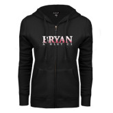 ENZA Ladies Black Fleece Full Zip Hoodie-Bryan Athletics Splatter Texture