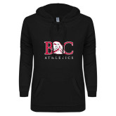 ENZA Ladies Black V-Notch Raw Edge Fleece Hoodie-Primary Mark