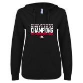 ENZA Ladies Black V Notch Raw Edge Fleece Hoodie-2017 Womens Soccer Champions - Lined Design