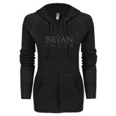 ENZA Ladies Black Light Weight Fleece Full Zip Hoodie-Bryan Cheer Glitter