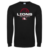 Black Long Sleeve T Shirt-Lions Volleyball Half Ball