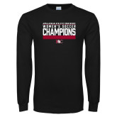 Black Long Sleeve T Shirt-2017 Womens Soccer Champions - Lined Design