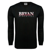 Black Long Sleeve TShirt-Bryan Athletics Splatter Texture