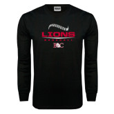 Black Long Sleeve TShirt-Baseball Seams Stacked Design