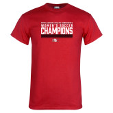 Red T Shirt-2017 Womens Soccer Champions - Lined Design
