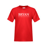Youth Red T Shirt-Bryan Athletics Stacked