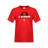 Youth Red T Shirt-Soccer Half Ball Design