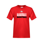 Youth Red T Shirt-Basketball Repeating Design