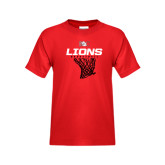 Youth Red T Shirt-Basketball Net Design