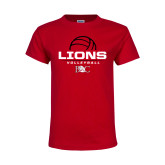 Youth Red T Shirt-Lions Volleyball Half Ball