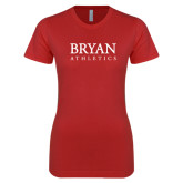 Next Level Ladies SoftStyle Junior Fitted Red Tee-Bryan Athletics Stacked
