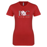 Next Level Ladies SoftStyle Junior Fitted Red Tee-Fishing