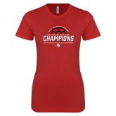 Next Level Ladies SoftStyle Junior Fitted Red Tee-2017 Womens Soccer Champions
