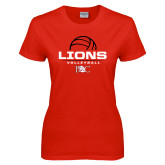 Ladies Red T Shirt-Lions Volleyball Half Ball