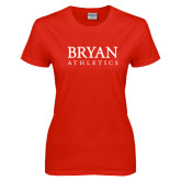 Ladies Red T Shirt-Bryan Athletics Stacked
