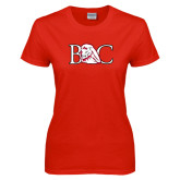 Ladies Red T Shirt-BC w/ Lion Head