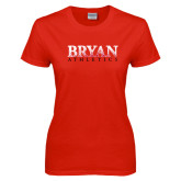 Ladies Red T Shirt-Bryan Athletics Splatter Texture