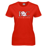 Ladies Red T Shirt-Fishing