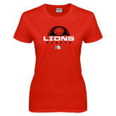 Ladies Red T Shirt-Soccer Half Ball Design