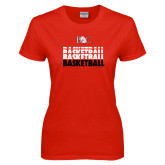 Ladies Red T Shirt-Basketball Repeating Design