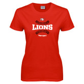 Ladies Red T Shirt-Softball Seams Design