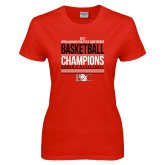Ladies Red T Shirt-2017 Appalachian Athletics Conference Womens Basketball Champions Stacked