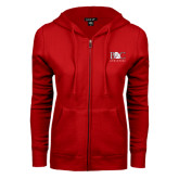 ENZA Ladies Red Fleece Full Zip Hoodie-Primary Mark