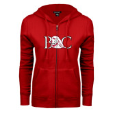 ENZA Ladies Red Fleece Full Zip Hoodie-BC w/ Lion Head